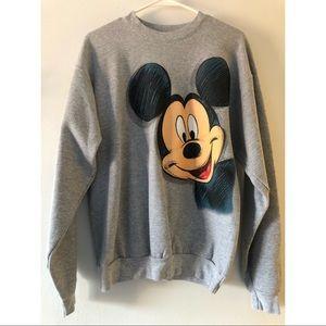 Walt Disney Mickey Mouse Head Gray Sweatshirt